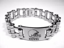 NFL Cleveland Browns Stainless Steel Bike Chain Logo ID Bracelet