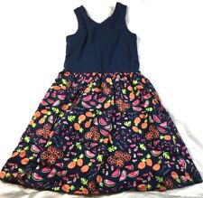 Gap Kids sleeveless dress, blue bodice, floral/fruit pattern skirt, size M