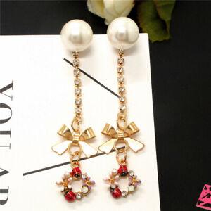 Red Cute Beetle Flower Pearl Crystal Bow Betsey Johnson Women Stand Earrings