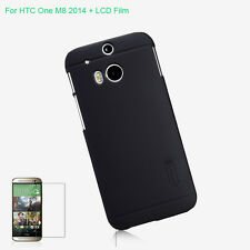Nillkin Black Matte Hard Back Case Skin Cover For Htc One M8 2014 + Screen Film