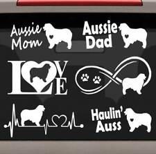 6 Australian Shepherd Aussie Mom Dad Heartbeat Infinity Decal Sticker Set E1081