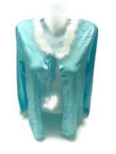 Vintage Women's Turquoise Blue Synthetic Satin Bed Jacket Lingerie Maribou Trim