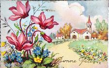 Ancienne carte postale, Bonne fête , écrite au revers en 1955.