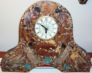 Retro Lucite Table Clock Embedded w/Mineral Gems