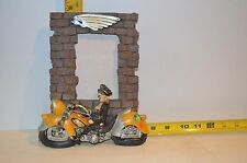 Table Top Picture Frame w/Yellow Motorcycle & Female Rider in Black Attire 9 x 8