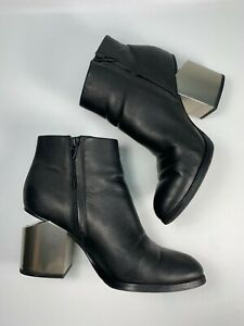 ALEXANDER WANG Gabi Leather Bootie Cut Out Heel Black Leather 37 7