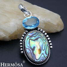 EASTER SALE. Unique Abalone Shell Blue Topaz 925 Silver Necklace Pendant AZ1145
