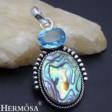 EASTER SALE. Unique Abalone Shell Blue Topaz 925 Silver Necklace Pendant AZ1145