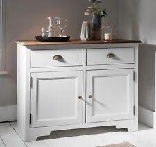 Sideboard Cupboard Hallway Unit in White and Dark Pine 2 Drawer