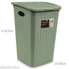 Portabiancheria effetto cesto vimini per bagno 50 LT  colore verde