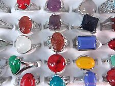 US SELLER-20 fashion rings wholesale jewelry lot genuine agate gemstones