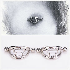 2pcs Stainless Steel Vampire Teeth Nipple Ring Women Body Piercing Jewelry
