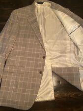SAMUELSOHN Gray Purple Windowpane Super 120 Wool Blazer Sport Coat Jacket - 44 L