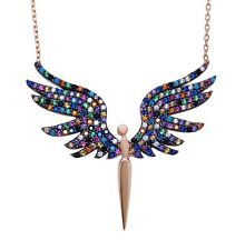 925 Sterling Silver Angel Wings Multicolour Necklace