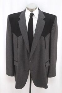 mens charcoal CIRCLE S western blazer jacket faux suede sport suit coat 54 L