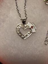 Nursing Medical Registered Nurse Cap Heart LPN  Necklace Silver RN Gift Box 18