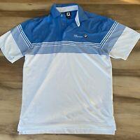 FootJoy Golf Polo Shirt Men's Medium White Blue Short Sleeve BMW Championships