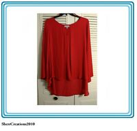 NWT Jennifer Lopez Women's Plus Size Blouse Shirt Top in Red MSRP $54  #1738160