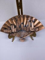 New york city souvenir Metal fan with skyline Copper Look Wall Hanging