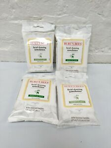 4 Burt's Bees Facial Cleansing Towelettes + Cotton Extract, 10 Towelettes