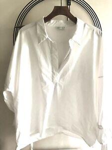 Ladies White Cotton TunicBlouse Long Ballon Sleeve Oversize Sz 2XL/22 TINY STAIN