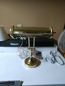 Vtg Small Brass Bankers Piano Task Industrial Desk Light Lamp