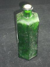 Vintage 1890s 6 sided Poison Bitters Green Glass Bottle Medicine 12 Fluted