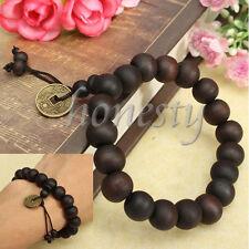 2PCS Wood Mala Buddha Buddhist Prayer Bead Tibet Bracelet Bangle Wrist Ornament