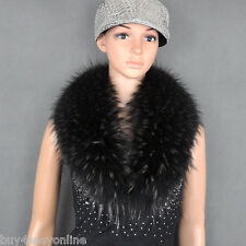 "Black With Tips Big Raccoon Fur Collar Scarf Wrap Winter Shawl 80X17cm/32"" inch"