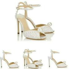 Chic Women Ankle Strap Pearl Stiletto High Heel Wedding Slingback Sandals Shoes