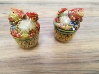 "Set of 3"" tall Salt and Pepper shaker Hand Painted glazed Chicken Rooster. NEW"