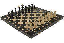 "SENATOR WOODEN CHESS SET & BOARD - 16"" FOLDING BOARD - 3"" KING - BLACK"
