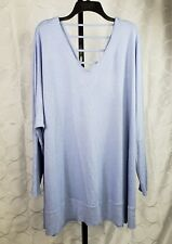 New Boutique Plus Tunic Sweater Size 2X Blue Oversized V Neck Long Sleeve Top