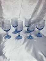 Vintage Ice Blue Fostoria small wine/tea glasses Swirl Base. (6) NC/cracks