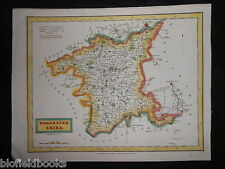 Antiquarian Hand Coloured Map of Worcestershire - 1832 - Worcester, Droitwich et