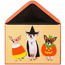 Papyrus Halloween Card - Three Chihuahuas in 3D Felt Costumes