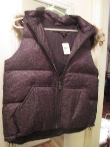 NWT Never Worn Coach Down Puffer Vest, size L, Brown Leopard w/ Hood, Orig $325