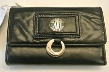 New/DEFECT.DKNY black color leather trifold snap closing wallet