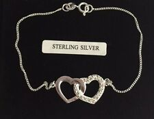 "Sterling silver/925/linked/heart/CZ gem/ladies/womens/bracelet/7.5""/boxed"