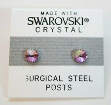 Pink Green Round Stud Earrings 5mm Crystal Made with Swarovski Elements AB