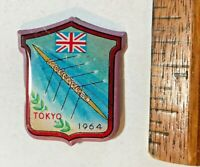 1964 VINTAGE TOKYO OLYMPIC GAMES COXED ROWING UNITED KINGDOM TIN PIN BADGE NM!