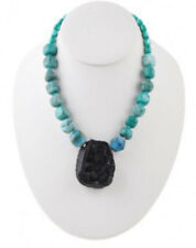 Barse Brand New Pompeii Agate Beaded And Deep Black Druzy Agate Pendant Necklace