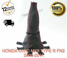 HONDA CIVIC MK8 TYPE R 2006-2011 GENUINE LEATHER GEAR GAITER/ COVER - RED STITCH