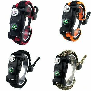 Survival Paracord Bracelet 20 in 1 with LED Light Compass Fire Starter Pack of 4