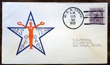 SC#718 CROSBY UNOFFICIAL USS TEXAS 6/15/1932 OLYMPIC COVER ADDRESSED