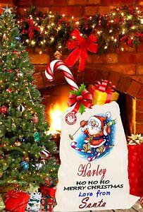 Personalised Merry Christmas Gift Santa Sack Bag Stocking Family Kids Pet Sacks