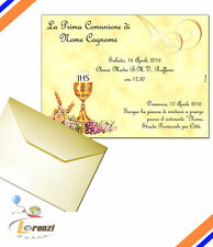 INVITI PRIMA COMUNIONE PERSONALIZ. SU PERGAMENA + BUSTE RIGATE ELEGANT ONICE