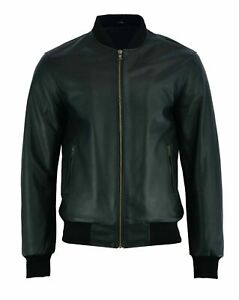 Mens Retro Bomber Biker Jacket Black 70's Classic Soft Real Leather Jacket