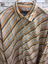 Men's Drill Multi Colored Striped Long Sleeve Crinkled Shirt sz LG Camp Outdoor