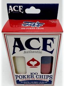 Ace Plastic Poker Chips (Set of 100)